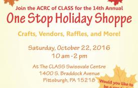 Fall colored leaves announcing the 14th Annual One Stop Holiday Shop at CLASS on October 22, 2016