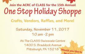 Fall leaves displaying the information for the One Stop Holiday Shop on Nov 11 2017