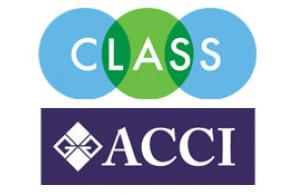 Green and Blue overlapping circles with the word CLASS and a dark blue rectangle with the letters ACCI
